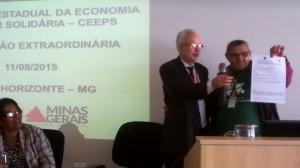 Antônio Roberto Lambertucci  Subsecretário de Trabalho e Desenvolvimento Social em ato solene de cadastro do primeiro empreendimento ao CADSOL