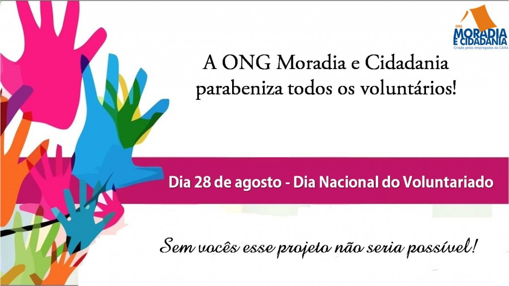 Dia 28 de agosto - dia nacional do voluntariado